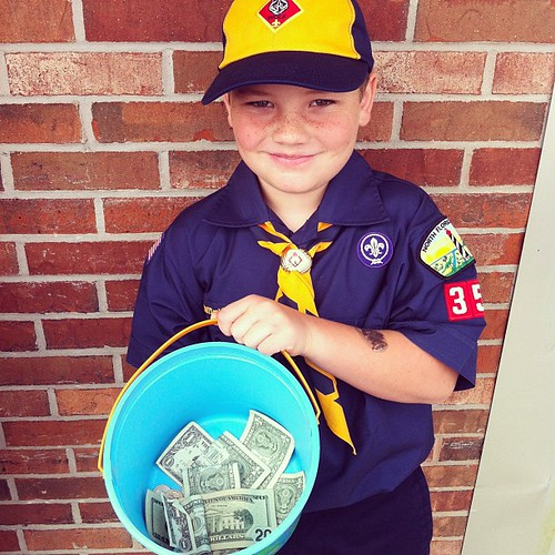 Highlight of the day...a man dropped a twenty dollar bill in the bucket. The boys thought he was the BEST!!! #cubscouts
