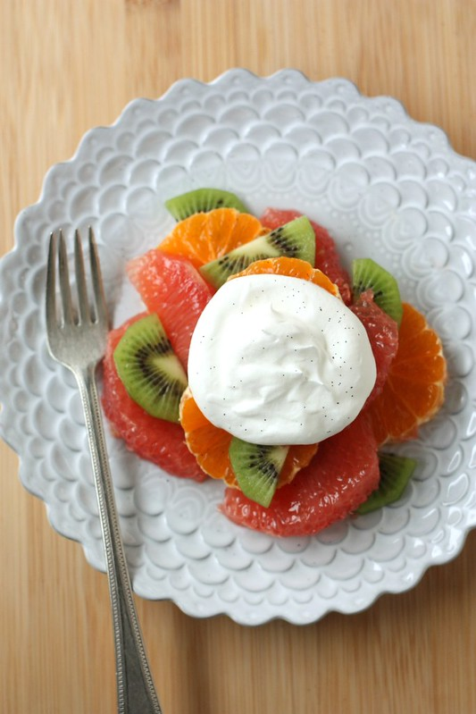 Winter Fruit Salad with Vanilla Whipped Cream