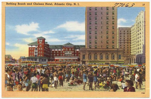 Bathing beach and Chelsea Hotel, Atlantic City, N.J.