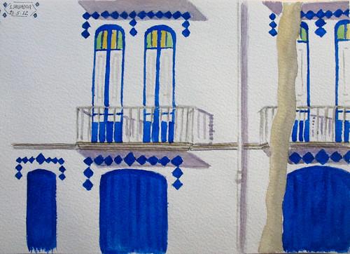 Casas de la playa. Azulejos azules. Blue tiles