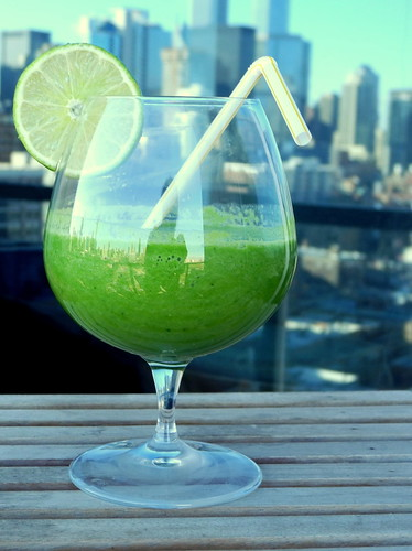 Green Apple Smoothie on Balcony
