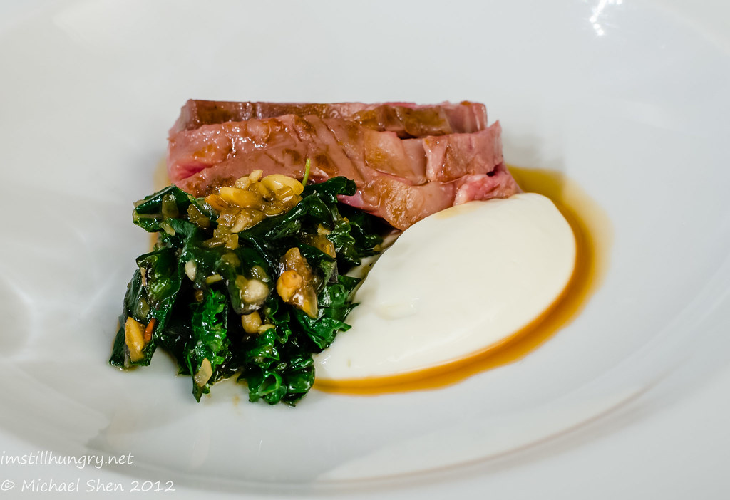 Tetsuya's - de-boned rack of lamb w/sheep's yoghurt & kale