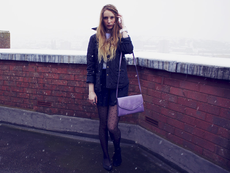 Quilted jacket, purple vintage handbag, spotted tights
