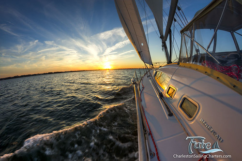 sunset sailboat sailing south 49 carolina charter beneteau