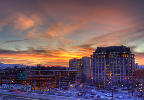 city buildings frozen twilight downtown flag garage fingers norfolk southern roanoke terry interstate avenue thumbs elm hdr numb anthem 581 virgninia aldhizer terryaldhizercom