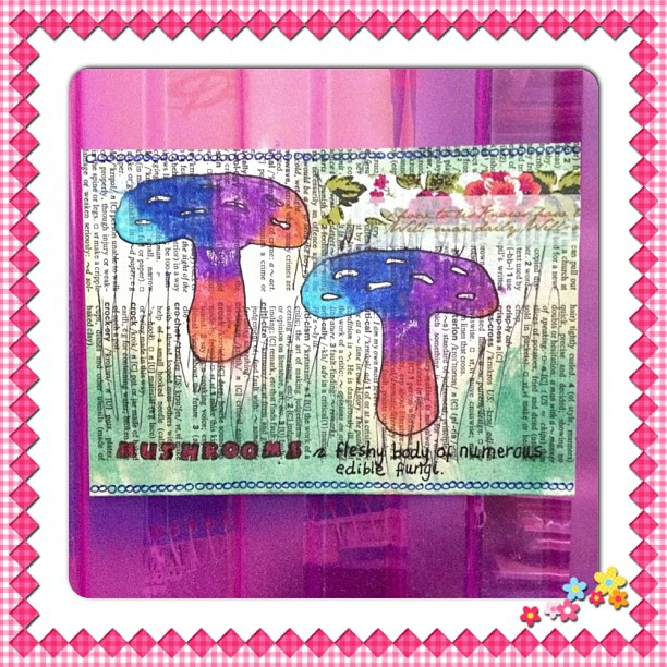 #bookpage #dictionary #mushrooms #rubberstamp #washitape #rainbow #postcard