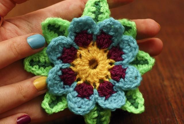 Crochet Iris Flower Pattern : Crochet Flower Made a bit of a crochet flower pattern, I ...