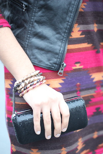 Tribal print + Leather detail