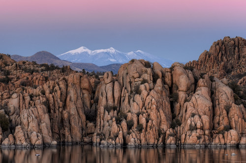 pink winter sunset red arizona lake snow reflection michael san francisco peak az bowl boulders flagstaff watson granite wilson peaks snowbowl prescott humphreys michaelwilsoncom