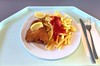 Pork cordon bleu with lemon & french fries / Cordon bleu vom Schwein mit Zitronenecke & Pommes Frites