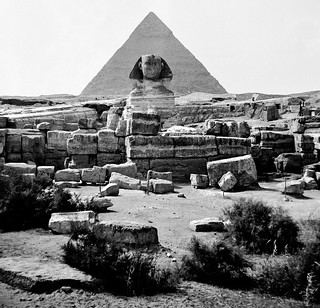 Mar 1942 - Ancient Sphinx and Pharaoh Khufu's Great Pyramid at Giza, Egypt