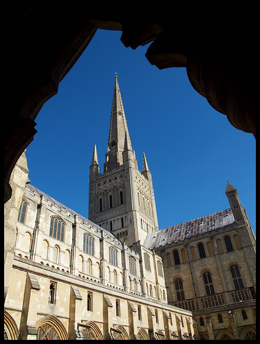 Norwich Cathedral Spire from the Cloister