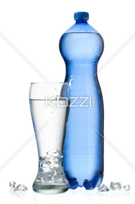 water bottle and glass of water