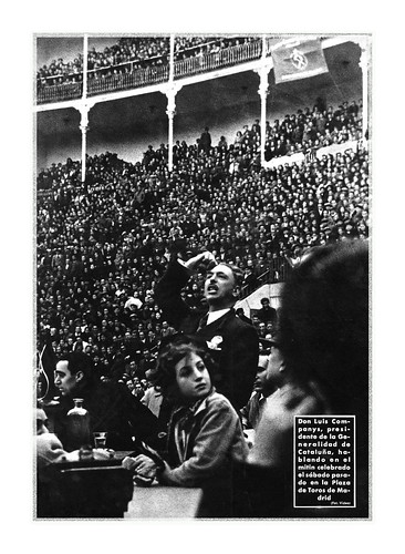 Madrid, 29 de febrero de 1936, meeting de Lluís Companys en la plaza de toros, recién llegado del Penal del Puerto de Santa María.  Foto Videa by Octavi Centelles