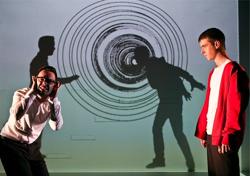 Supersonic yelps and screams  - James Mackenzie and James Young as Uncle Herbie & Sam in Random Accomplice's production of The Incredible Adventures of See Thru Sam. Photo: Eoin Carey