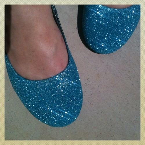 Blue Glitter Shoes by Heather Says