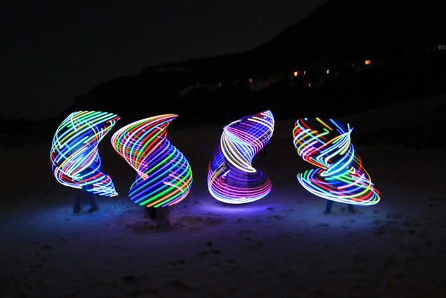 LED Hula Hooping on Llandudno beach