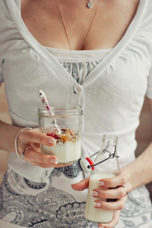 Breakfast. Granola & milk