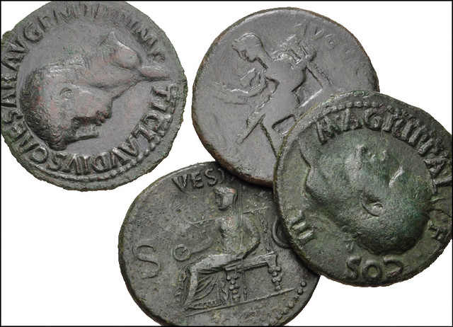 Lot of four (4) Æ Ases from Agrippa to Claudius.... by Joe Geranio