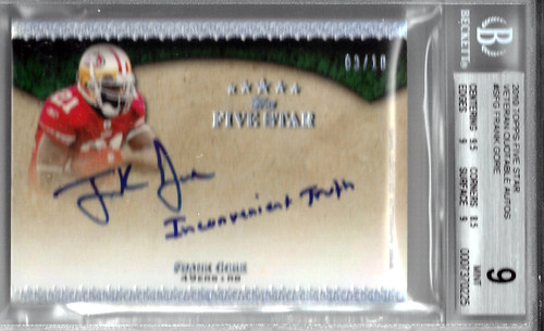 2010 Topps Five Star Veteran Quotable Autographs #SFG Frank Gore (3 of 10) BGS 9