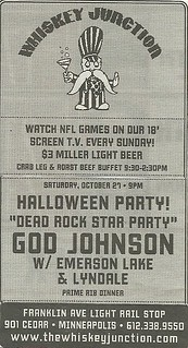 10/27/12 God Johnson/ Emerson, Lake & Lyndale @ Whiskey Junction, Minneapolis, MN