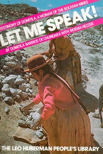 Cover of book, Let Me Speak! depicting Bolivian women sorting through rocks