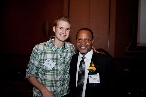 Cardinal Stritch University student Collin Hartman and Cary Edwards at the Media Hall of Fame on Friday, Oct. 26, 2012.