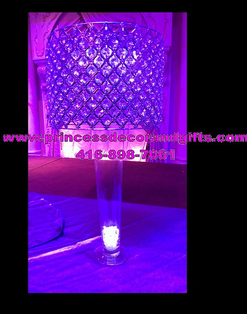 Rental Centerpieces Crystal Shade And Trumpet Vase With Light