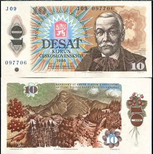 10 Kčs III. Desať korún Československo 1986, Pick 94