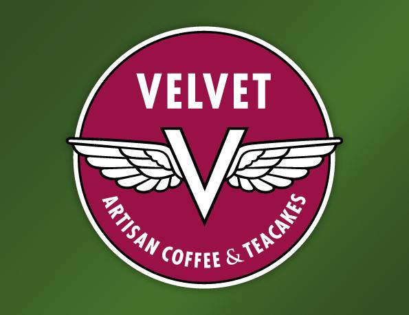 Logo for Velvet Artisan Coffee & Teacakes, by Penina S. Finger