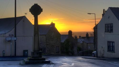england sky silhouette sunrise cross derbyshire crich jimbell pentaxk5 crichcross