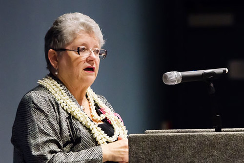 <p>University of Hawaii President M.R.C. Greenwood gave the keynote address at the Hawaii Island Chamber of Commerce's annual Athena Awards Luncheon in Hilo. (Photo courtesy of HICC)</p>