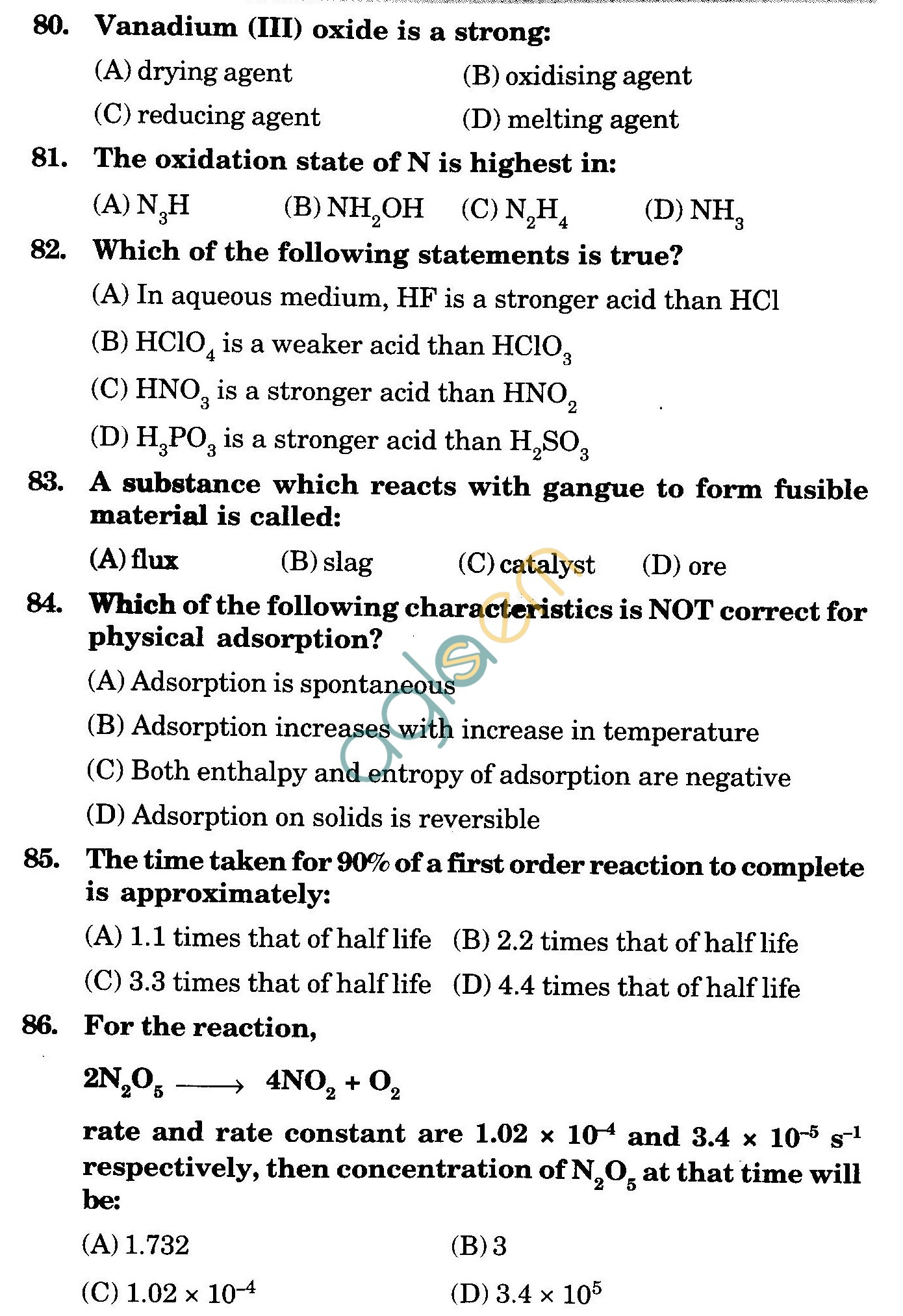 NSTSE 2009 Class XII PCB Question Paper with Answers - Chemistry