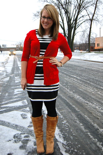 Red Cardigan, Striped Dress, Cognac Accessories