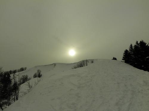 Une pente raide à environ 150m du sommet