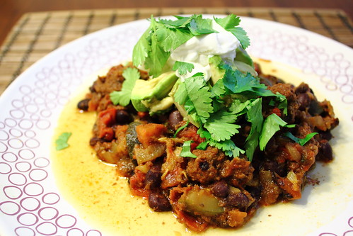 Black bean and zucchini chili