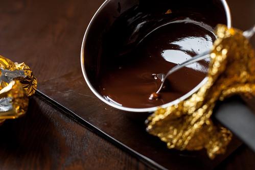 растопленный горький шоколад