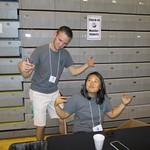 Head TOL Kevin Carey and Jill Kawasaki were caught posing for a picture while setting up the check-in tables. --