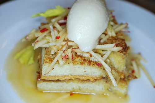 Apple Peanut Butter French Toast with Sorghum Brown Butter Buttermilk Sorbet
