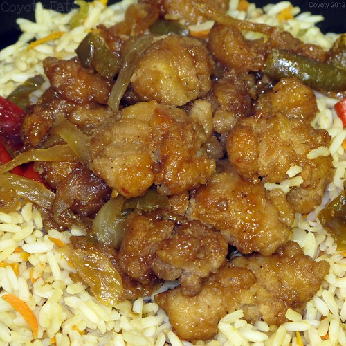 General Tso's chicken on veggie fried rice by Coyoty
