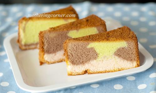 Mini rainbow chiffon cake