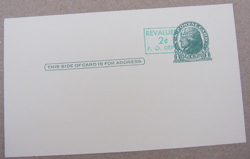 USPS Thomas Jefferson Postal Card Revalued