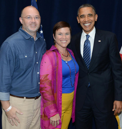 Teresa with President Obama after winning the Backstage with Barack promotion