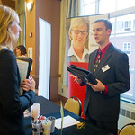 IF1 -- Internship Fair. Kristin Wharton '15 talks with Wes Johnson of BDK accounting.