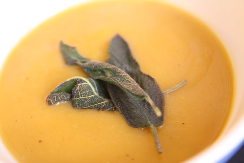 Butternut Squash and Apple Soup with Fried Sage Leaves