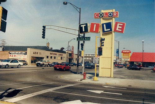 The intersection of West Cermak Road and South Home Avenue facing east.  Berwyn Illinois.  April 1988. by Eddie from Chicago