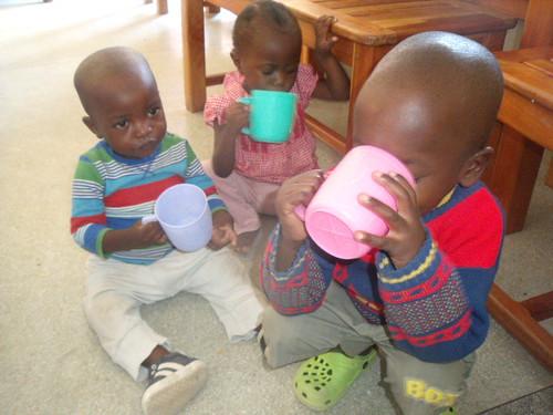 Munyau, Mercy & Johnny enjoy morning chai
