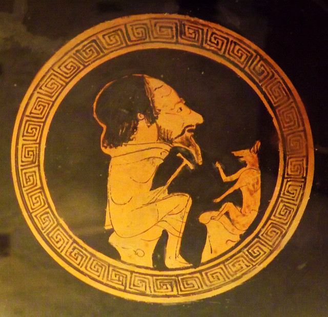 Detail of a Kylix by the Painter of Bologna 417 with Aesop and the Fox in the Vatican Museum, July 2012