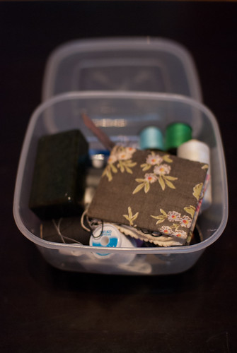 My (hidden in the cupboard) sewing box