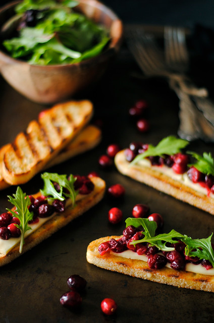 Arugula, Brie, and Cranberry Crostini